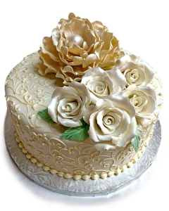 Willow Cakes 1-tier wedding cake with roses