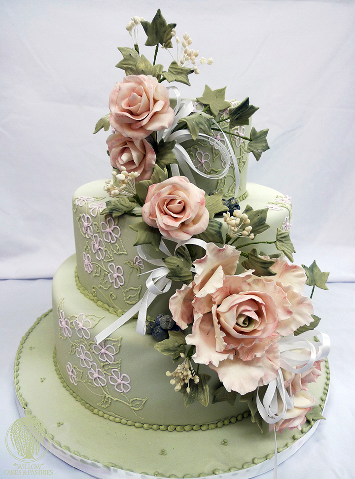 Willow Cakes & Pastries 3-Tier White on white wedding cake