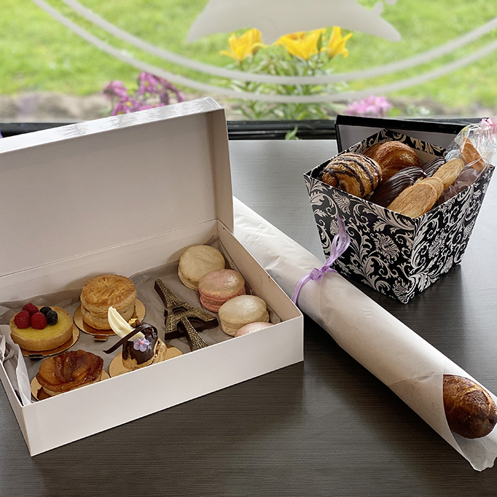 Willow Cakes and Pastries box of cookies and other items