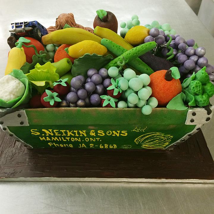 Basket of fruit cake